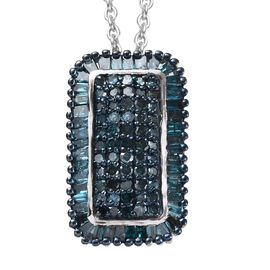 Blue Diamond (Rnd and Bgt) Pendant with Chain (Size 18) in Platinum and Blue Overlay Sterling Silver