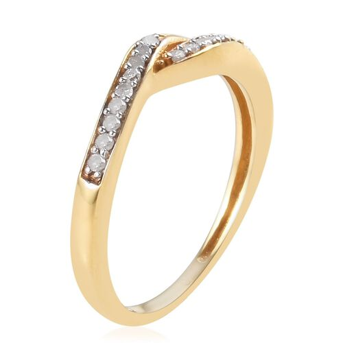 Diamond (Rnd) Ring in 14K Gold Overlay Sterling Silver 0.100 Ct.