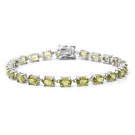 11.28 Ct AA Hebei Peridot Tennis Bracelet in Rhodium Plated Sterling Silver 7.5 Inch