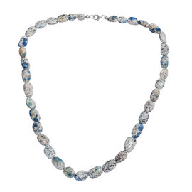 182.7 Ct Azurite Necklace Beaded Necklace in Platinum Plated Sterling Silver 20 Inch