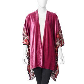 Floral Embroidery Lace Sleeves Nice Velvet Kimono (Size 70x75 Cm) - Fuchsia Colour