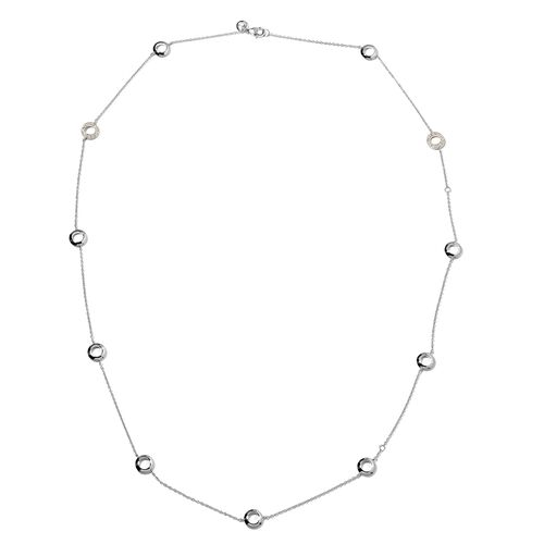 WEBEX- Rachel Galley Swarovski Zirconia (Rnd) Rhodium Plated Sterling Silver Necklace (Size 30)  0.192 Ct, Silver wt 13.45 Gms.