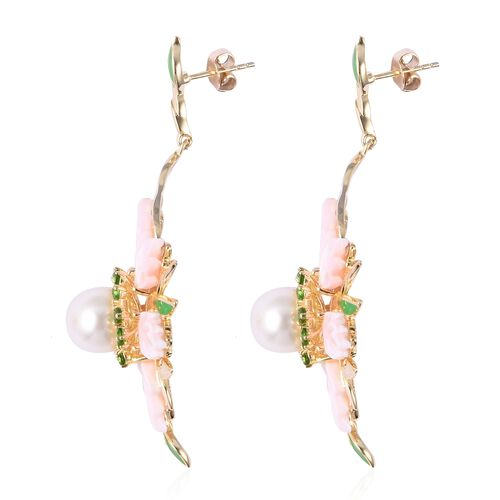 Jardin Collection - Pink Mother of Pearl, Fresh Water Pearl and Russian Diopside Earrings (with Push Back) in Enameled and Yellow Gold Overlay Sterling Silver, Silver wt 14.06 Gms.