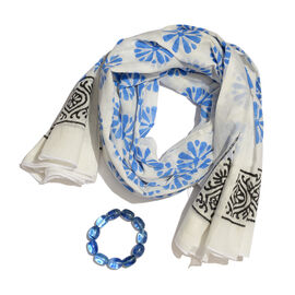 100% Cotton White, Blue and Black Colour Block Print Scarf (Size 180x115 Cm) with Beads Stretchable Bracelet (Size 7.5)