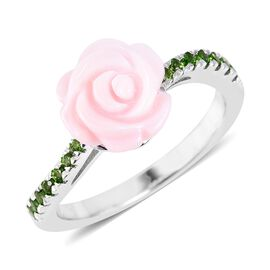 Pink Mother of Pearl (5.25 Ct),Russian Diopside Sterling Silver Ring  5.460  Ct.