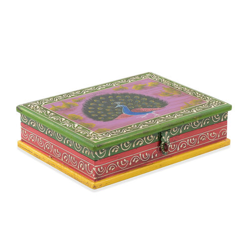 Royal Peacock Vibrant Colour Hand Painted Storage Jewellery  Box