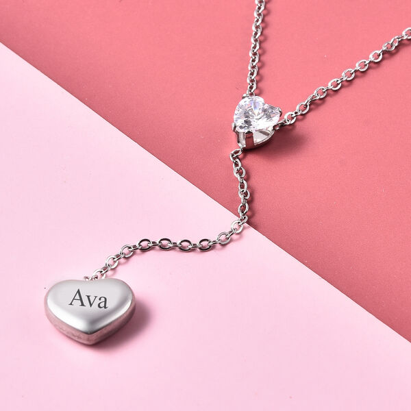 Personalised Engravable White CZ Heart Necklcae, Size 17+2 Inch, Stainless Steel