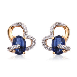 Kashmir Blue Kyanite (Ovl), Natural Cambodian Zircon Earrings (with Push Back) in 14K Gold and Platinum Overlay Sterling Silver 2.570  Ct.