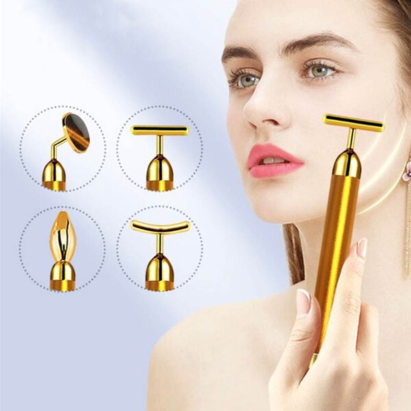 4-in-1 Tigers Eye Facial Roller - Gold Plated Interchangeable Heads (Incl. Tigers Eye, T-Shaped and Drip-Shaped Face Lift, Circle Eye Massager Head) (1xAA Battery not included)