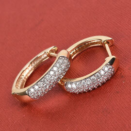Sundays Child- 9K Yellow Gold SGL Certified Diamond (I3/G-H) Huggie Hoop Earrings (with Clasp) 0.50 Ct.