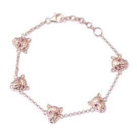 J Francis - Rose Gold Overlay Sterling Silver (Rnd) Leopard Head Bracelet (Size 7.5 with extender) Made with Red SWAROVSKI ZIRCONIA, Silver wt. 11.55 Gms.