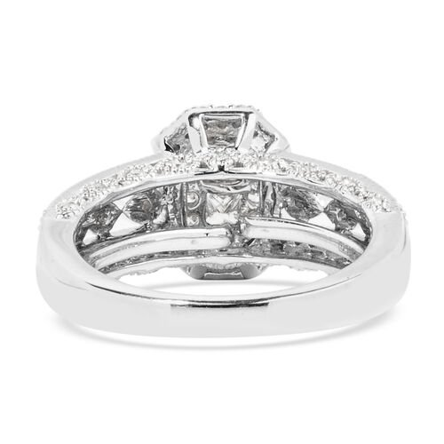 New York Close Out - 14K White Gold Diamond (Sqr and Rnd) (I1-I2/G-H) Ring 1.000 Ct. Gold wt 6.40 Gms. Size O