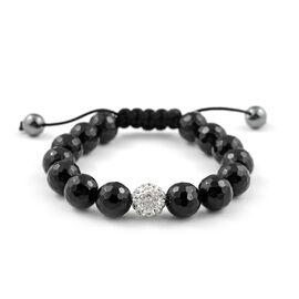 Black Agate Adjustable Beads Bracelet (Size 7.5)