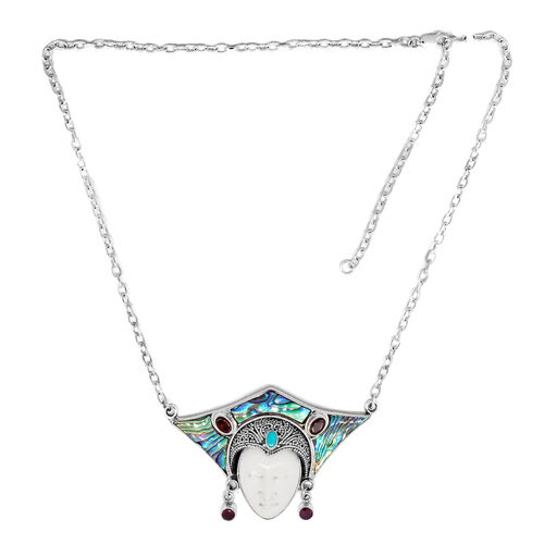 Princess Bali Collection OX Bone Carved Face (Ovl), Abalone Shell, Mozambique Garnet, Ruby and Arizona Sleeping Beauty Turquoise Necklace (Size 20) in Sterling Silver 15.000 Ct.Silver Wt 22.50 Gms