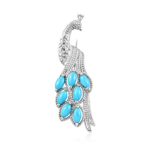 1.50 Ct Arizona Sleeping Beauty Turquoise Peacock Brooch in Platinum Plated Silver 5 Grams