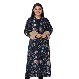 Long Size Floral Pattern Robe with Faux Fur Cuff (Size 121.9x61 Cm) - Navy