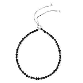 ELANZA Simulated Black Spinel (Rnd) Adjustable Bracelet (Size 6.5-8.0) in Rhodium Overlay Sterling S