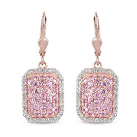 Pink Sapphire and Natural Cambodian Zircon Cluster Earrings (with Lever Back) in Rose Gold Overlay S