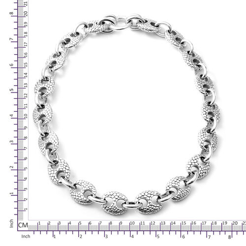 Rhodium Overlay Sterling Silver Marine Link Necklace (Size 21), Silver wt 58.59 Gms.