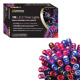 100 LED Battery Operated Timer Lights - Multi Colour (3xAA Battery not Included)