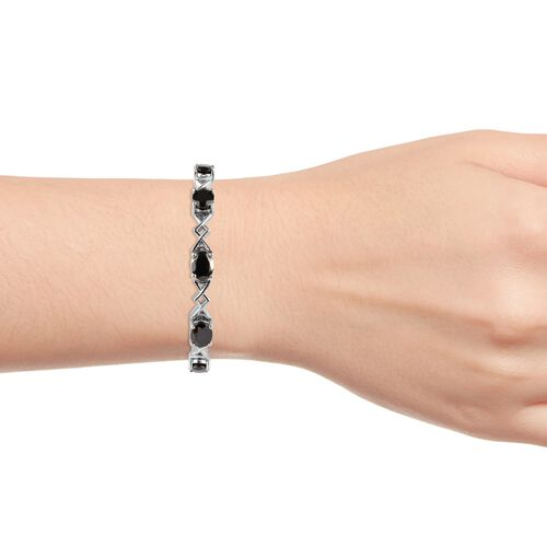 Elite Shungite (Ovl) Bracelet (Size 7.5) in Platinum Overlay Sterling Silver 9.75 Ct, Silver wt 18.50 Gms