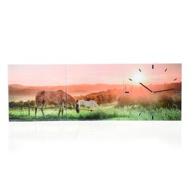 Home Designs: Horse Pattern Three Piece Wall Clock (Size 90x30x4 Cm)