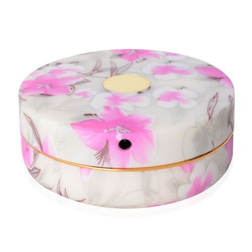 Pink and White Colour Round Shape Led Rechargeable Floral Pattern Jewellery Box with Mirror