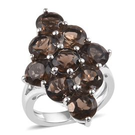 7 Carat Brazilian Smoky Quartz Cluster Ring in Platinum Plated