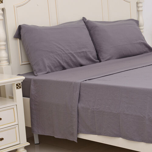 Set of 4 - Ultrasoft Stone Washed Grey Colour Fitted Sheet (150x200+30 Cm), Double Duvet Cover (200x200 Cm) and 2 Pillow Case (75x50+5 Cm)