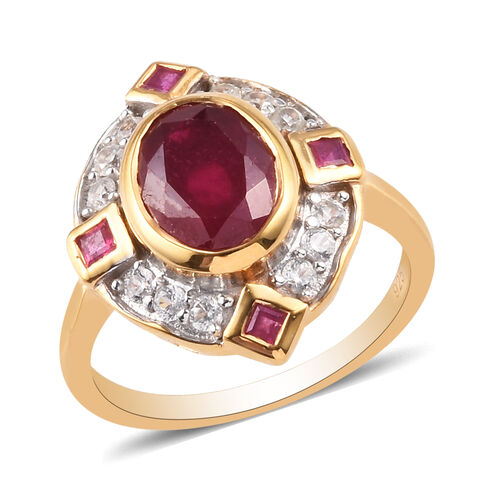 African Ruby and Natural Cambodian Zircon Ring in 14K Gold Overlay Sterling Silver 3.25 Ct.