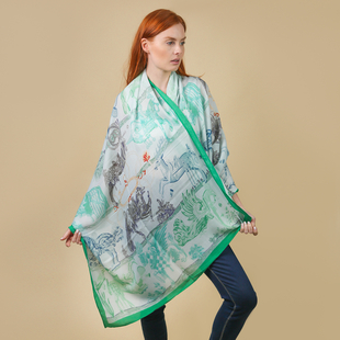 JOVIE 100% Viscose Printed Scarf (Size:180x85Cm) - Mint and Green