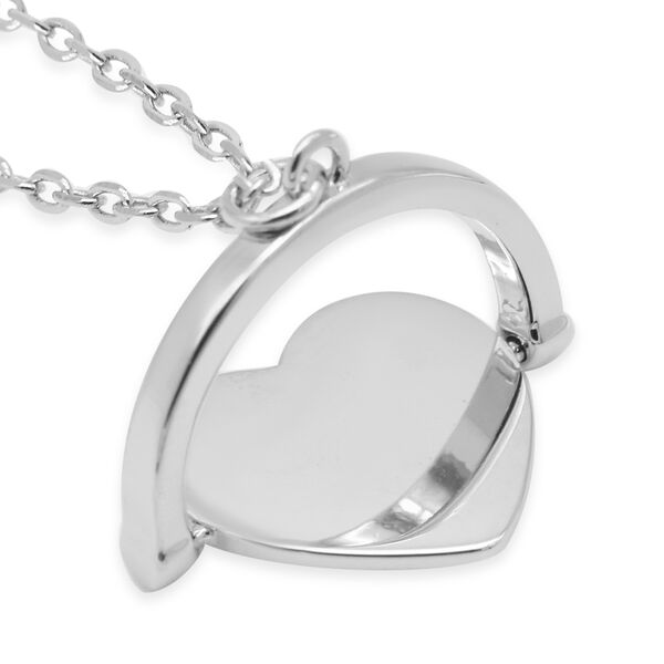 Personalised Silver Spinner Heart Necklace, Size 17+1 Inch
