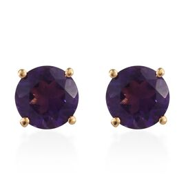 Amethyst (Rnd) Stud Earrings (with Push Back) in 14K Gold Overlay Sterling Silver 2.50 Ct.