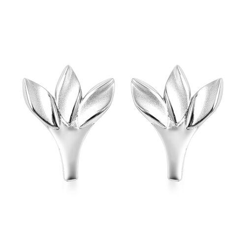 RACHEL GALLEY Rhodium Overlay Sterling Silver Sandblast Texture Three-Leaf Design Stud Earrings (wit