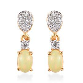 Ethiopian Welo Opal, Natural Combodian Zirocn Drop Earrings in 14K Gold Overlay Sterling Silver 1.00