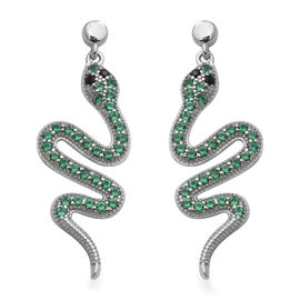 ELANZA Serpent Collection- Simulated Black Diamond and Simulated Peridot Serpent Earrings (with Push