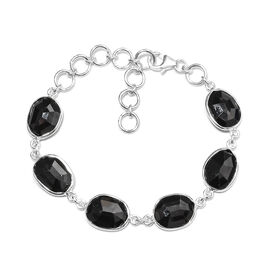 28.83 Ct Boi Ploi Black Spinel Friendship Bracelet in Silver 8 Inch with Extender