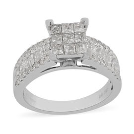 9K White Gold Natural White Diamond Ring 1.50 ct, Gold Wt. 4.70 Gms