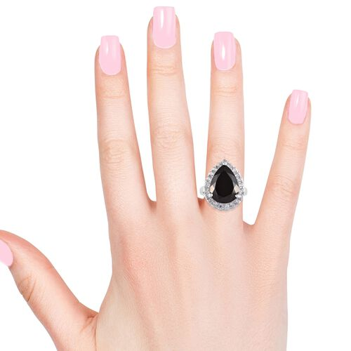 Elite Shungite (Pear 16x12 mm), Natural Cambodian Zircon Ring in Platinum Overlay Sterling Silver 6.50 Ct, Silver wt 5.30 Gms