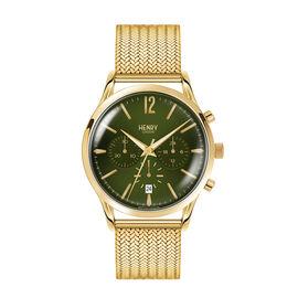 HENRY LONDON Chiswick Mens Green Dial Mesh Bracelet Watch in Gold Tone