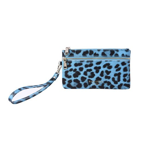 Set of 2 - 100% Genuine Leather Blue and Black Leopard Pattern RFID Clutch Wallet (18x10cm, 15x9cm)