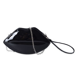 Exclusive Classic Black High Glossed Lips Clutch Bag with Removable Chain Shoulder Strap (Size 24.5x13x6 Cm)