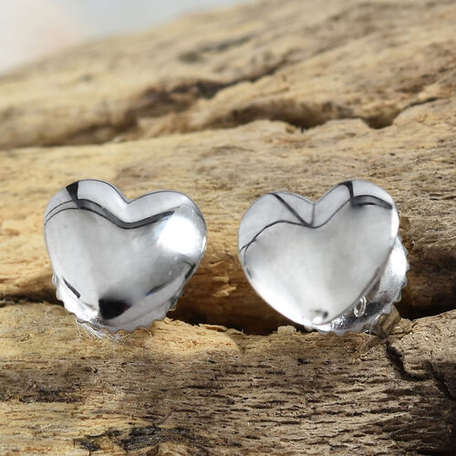 RHAPSODY 950 Platinum Heart Stud Earrings (with Screw Back)