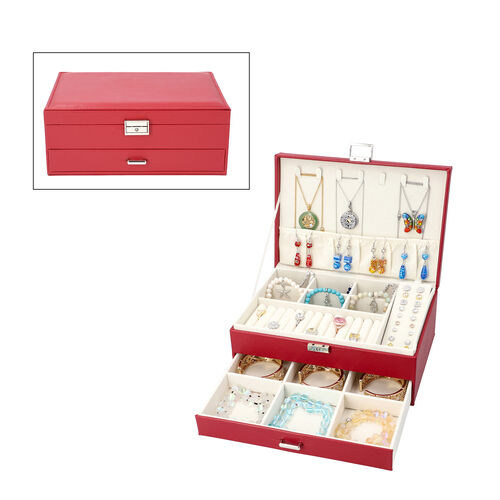 Two-Layer Burgundy Jewellery Box with Multiple Compartments and Lock & Key (Size 27x19x10.5cm)