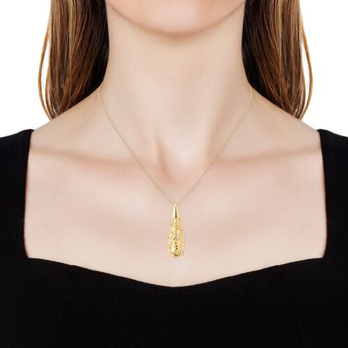 Super Auction - LucyQ Air Drip Pendant With Chain (Size 30) in Yellow Gold Overlay Sterling Silver, Silver wt 12.58 Gms.