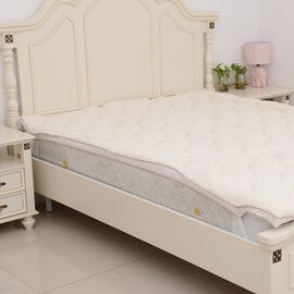 Luxury Teddy Bear Soft and Warm Sherpa Mattress Topper with Faux Down Filling in King Size (150x200