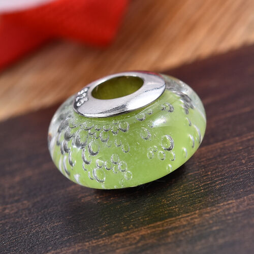 Charmes De Memoire Greenish Yellow Murano Style Glass Bead Charm in Platinum Plated Sterling Silver