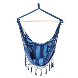 Striped Hanging Rope Hammock Swing Seat with 2 Cushions (Size 100x130cm) - Blue