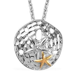Platinum and Yellow Gold Overlay Sterling Silver Starfish Pendant with Chain (Size 18)
