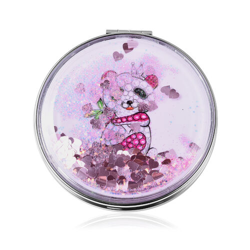 Set of 2 - Pink and Multi Colour Austrian Enamelled Koala Pendant with Chain (Size 28 with 2 inch Extender) and Compact Mirror in Rose Gold Tone